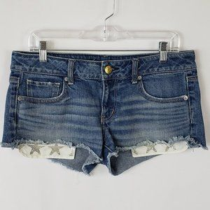 American Eagle Outfitters Silver Stars Blue Shorts